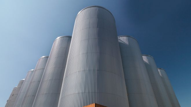 Panoramic view of malt and barley storage silos, c. 2010.